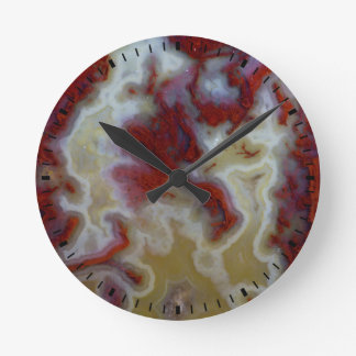 Close up of Red Moss Agate Slab Round Clock