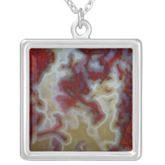 Close up of Red Moss Agate Slab Silver Plated Necklace