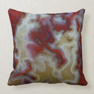 Close up of Red Moss Agate Slab Throw Pillow