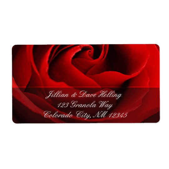 Close up of red rose accent address Label