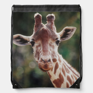 Close up of Reticulated Giraffe Drawstring Bag
