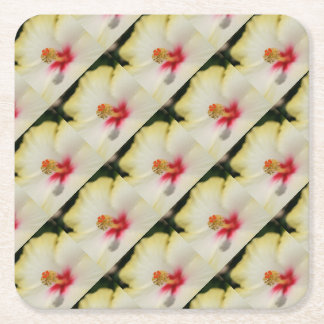Close Up of Stamen And Pollen Yellow Hibiscus Square Paper Coaster