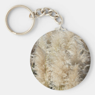 Close-Up of Tall Pampas Grass Plumes Basic Round Button Keychain