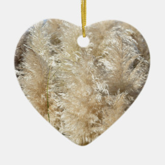 Close-Up of Tall Pampas Grass Plumes Ceramic Heart Ornament