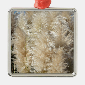 Close-Up of Tall Pampas Grass Plumes Silver-Colored Square Ornament