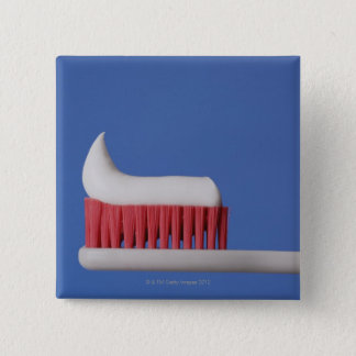 Close-up of toothpaste on a toothbrush 2 inch square button