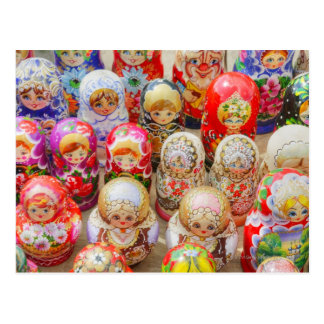 Close-up of traditional Russian nested dolls Postcard