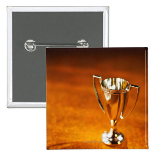 Close-up of trophy 2 inch square button