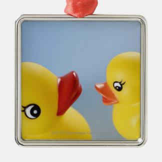 Close-up of two rubber ducks Silver-Colored square ornament