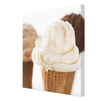 Close up of various ice cream cones stretched canvas prints
