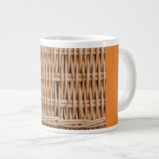 close-up of weave of a  hamper on large mug