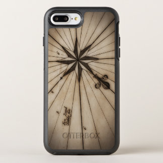 Close up of wind rose on antique map OtterBox symmetry iPhone 7 plus case