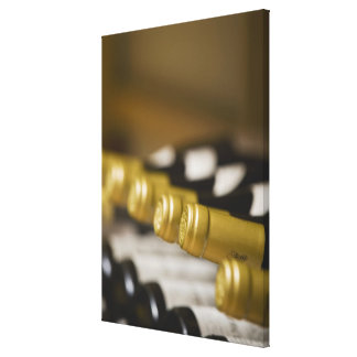 Close up of wine bottle tops stretched canvas print