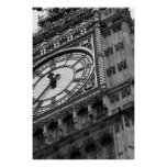 Close up on Big Ben in black and white Print
