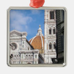 Close up on Florence. Silver-Colored Square Ornament