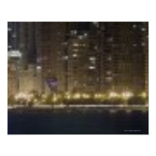 Close-up panoramic view of the Chicago lakefront 2 Posters