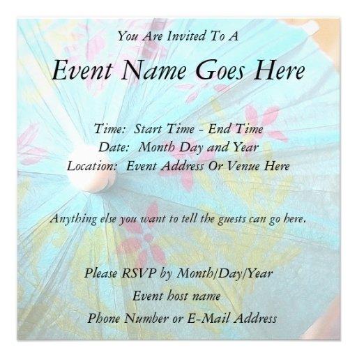 Close Up - Paper Parasol Invite