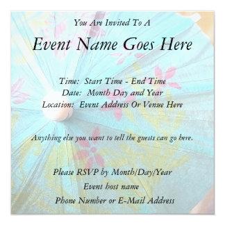 "Close Up - Paper Parasol 5.25"" Square Invitation Card"