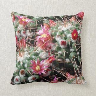 Close-Up Photo Pincushion Cactus Flowers Throw Pillow