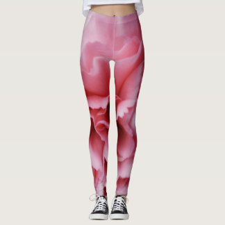 Close-up Pink Carnation print women's leggings