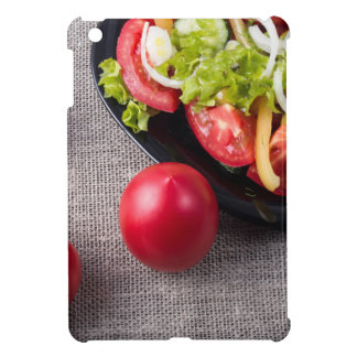 Close-Up top view fresh tomatoes and salad iPad Mini Case