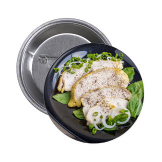 Close-Up top view of sliced grilled chicken 2 Inch Round Button