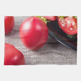 Close-Up top view on fresh tomatoes and a bowl Kitchen Towel