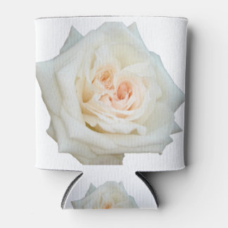 Close Up View Of A Beautiful White Rose Isolated Can Cooler