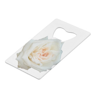 Close Up View Of A Beautiful White Rose Isolated Credit Card Bottle Opener