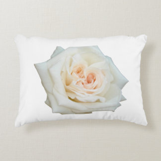 Close Up View Of A Beautiful White Rose Isolated Decorative Pillow