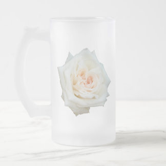 Close Up View Of A Beautiful White Rose Isolated Frosted Glass Beer Mug