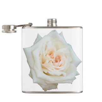 Close Up View Of A Beautiful White Rose Isolated Hip Flask