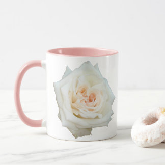 Close Up View Of A Beautiful White Rose Isolated Mug