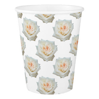 Close Up View Of A Beautiful White Rose Isolated Paper Cup