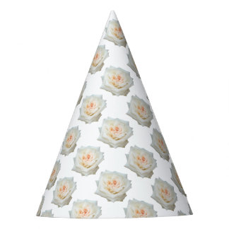 Close Up View Of A Beautiful White Rose Isolated Party Hat