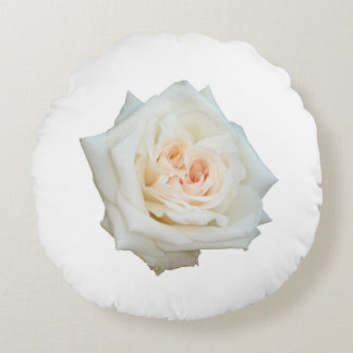 Close Up View Of A Beautiful White Rose Isolated Round Pillow
