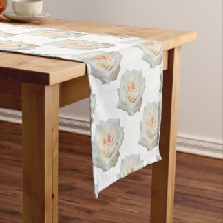 Close Up View Of A Beautiful White Rose Isolated Short Table Runner