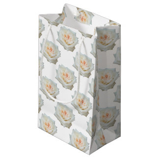 Close Up View Of A Beautiful White Rose Isolated Small Gift Bag
