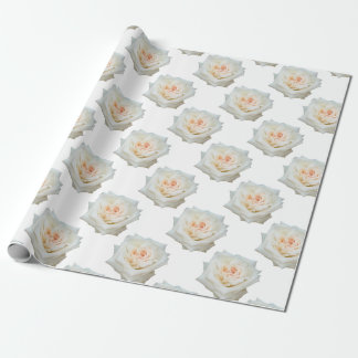 Close Up View Of A Beautiful White Rose Isolated Wrapping Paper