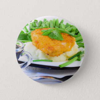 Close-up view of fried chicken 2 inch round button