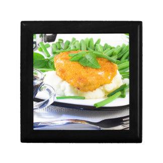 Close-up view of fried chicken keepsake box
