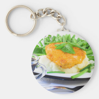 Close-up view of fried chicken keychain