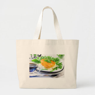 Close-up view of fried chicken large tote bag