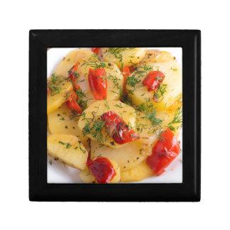 Close up view on a vegetarian dish of potatoes keepsake box