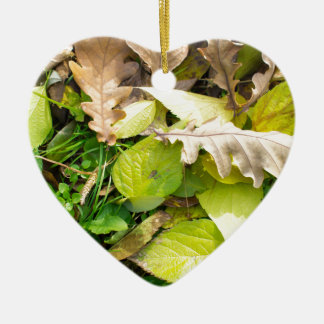 Close-up view on fallen autumn leaves ceramic heart ornament
