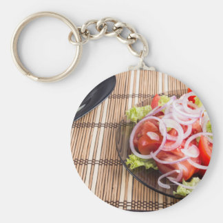 Close-up view on natural homemade breakfast basic round button keychain