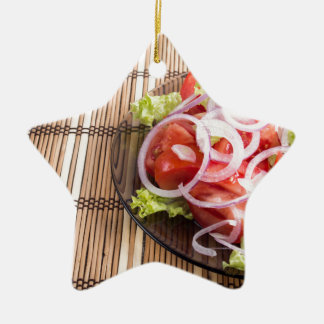 Close-up view on natural homemade breakfast ceramic star ornament