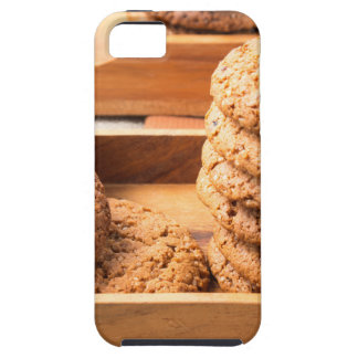 Close-up view on oat biscuits in wooden boxes iPhone 5 cover