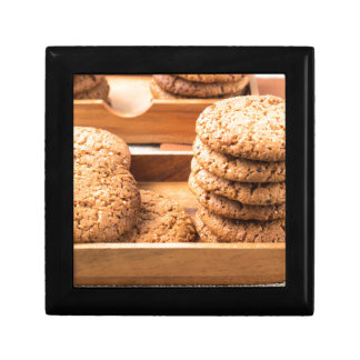 Close-up view on oat biscuits in wooden boxes keepsake boxes