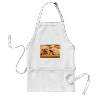 Close-up view on oat biscuits in wooden boxes standard apron